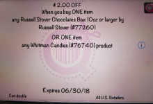 Russell Stover Coupon Error